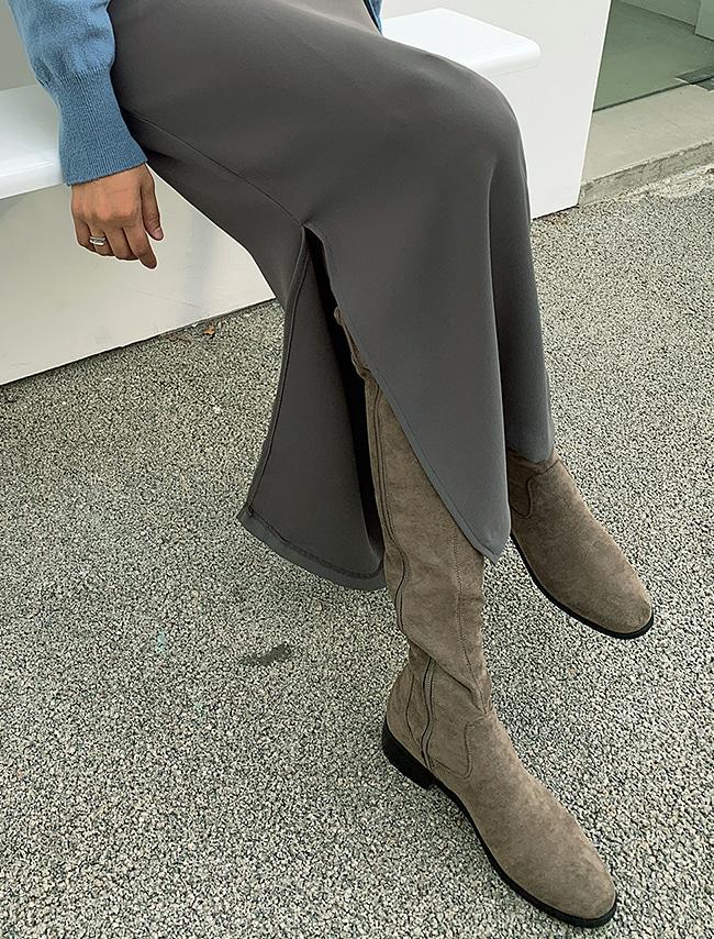 DARKVICTORY仿麂皮側拉鍊過膝長靴