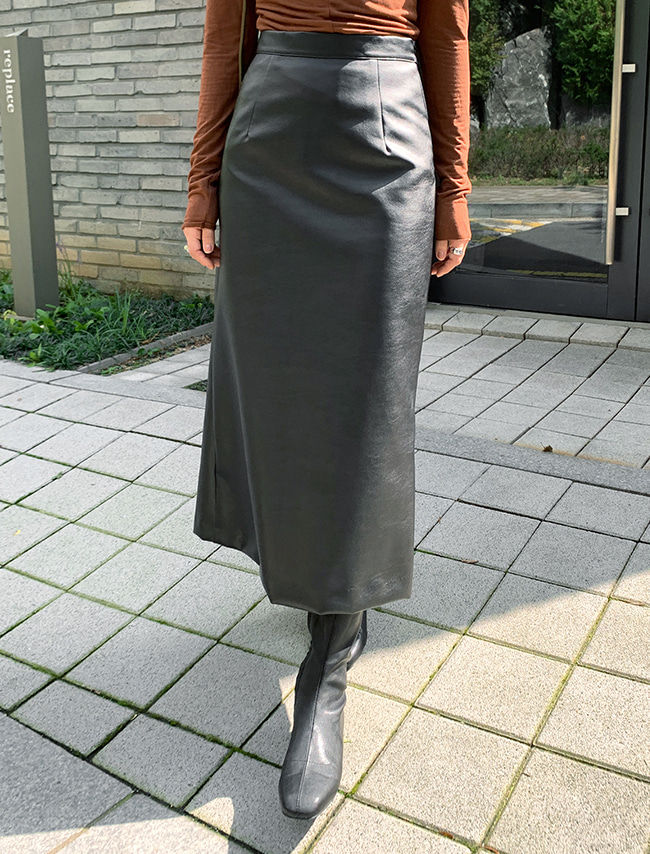 DARKVICTORY秋冬時尚後開衩仿皮長裙