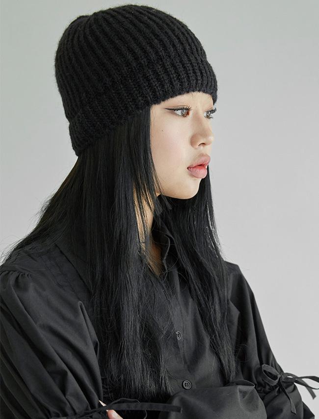 DARKVICTORY羊駝毛混紡羅紋針織毛帽