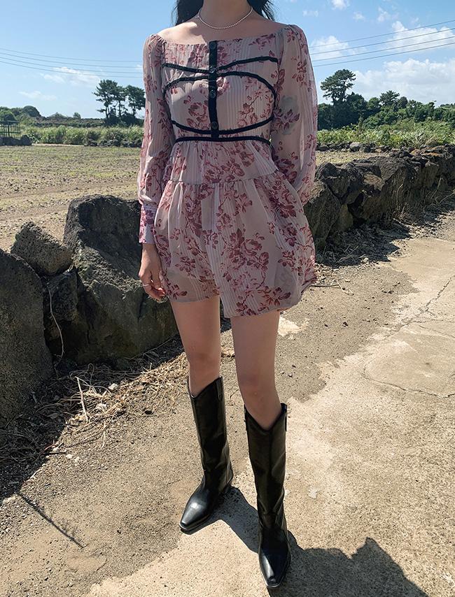 DARKVICTORY線條裝飾鬆緊領口印花洋裝