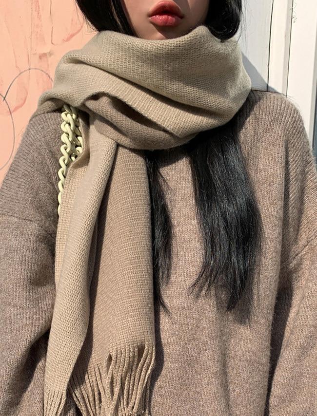 DARKVICTORY藝術風配色拼接流蘇圍巾