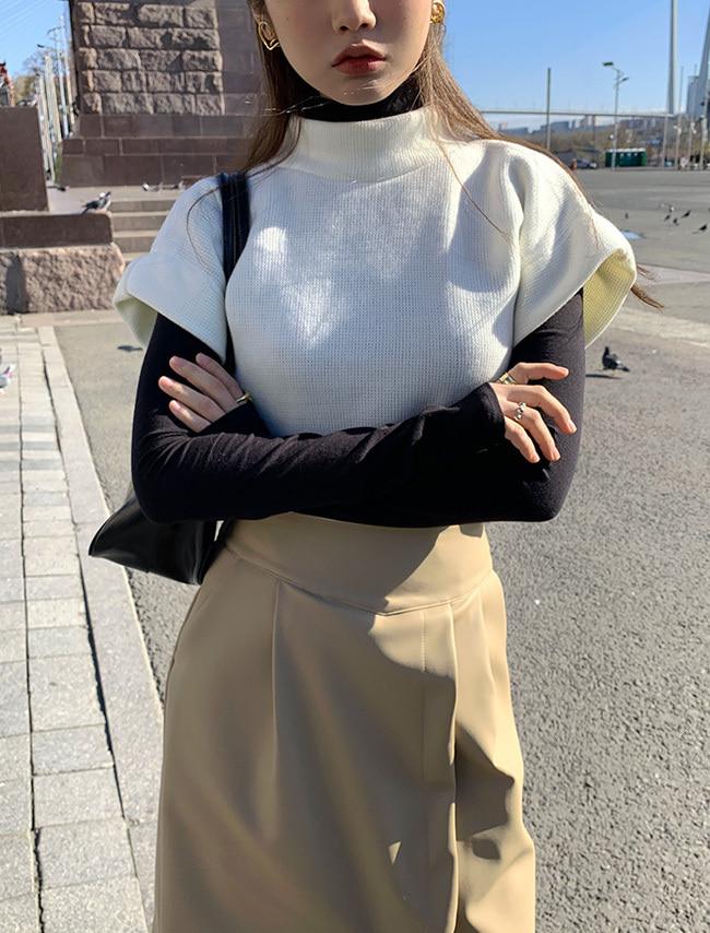 DARKVICTORY混羊毛立領針織短袖上衣