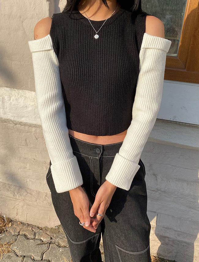 DARKVICTORY配色拼接露肩短版針織上衣