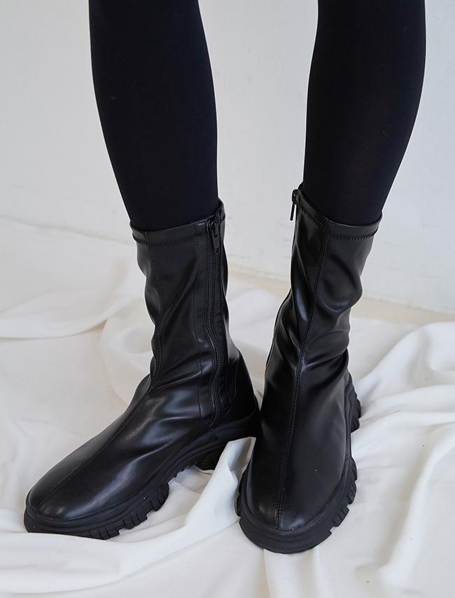 DARKVICTORY顯瘦窄筒側拉鍊仿皮厚底靴