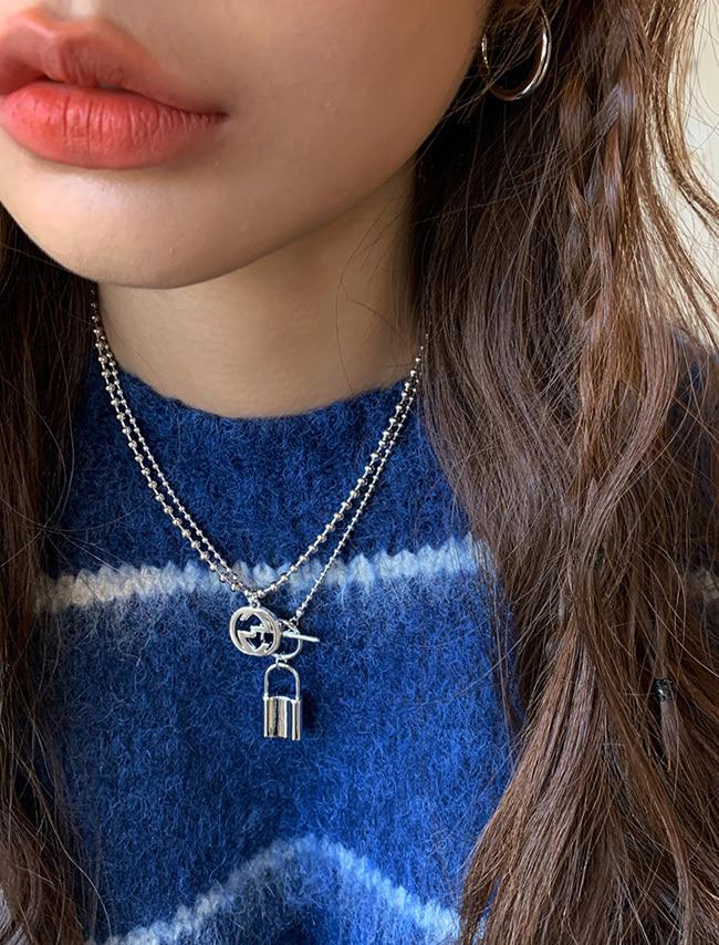 DARKVICTORY圓珠鍊條圖案綴飾金屬項鍊
