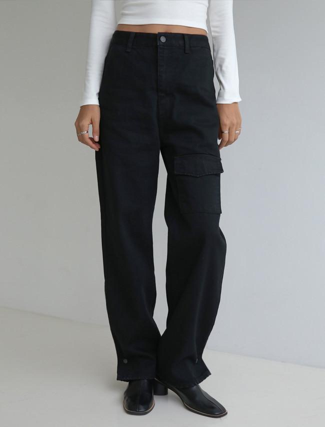 DARKVICTORY單邊翻蓋口袋直筒牛仔褲(黑色牛仔)