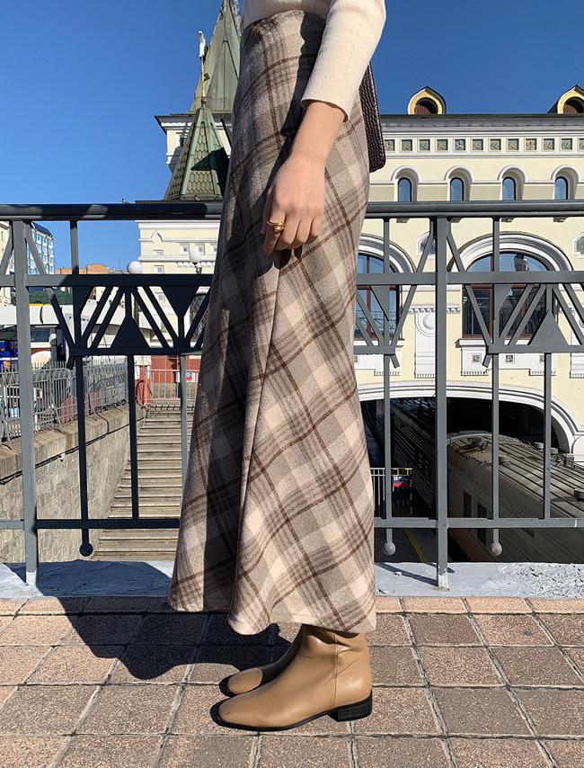 DARKVICTORY柔色系格紋後鬆緊長裙