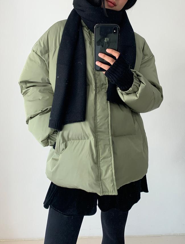 DARKVICTORY俐落純色中長版羽絨棉外套