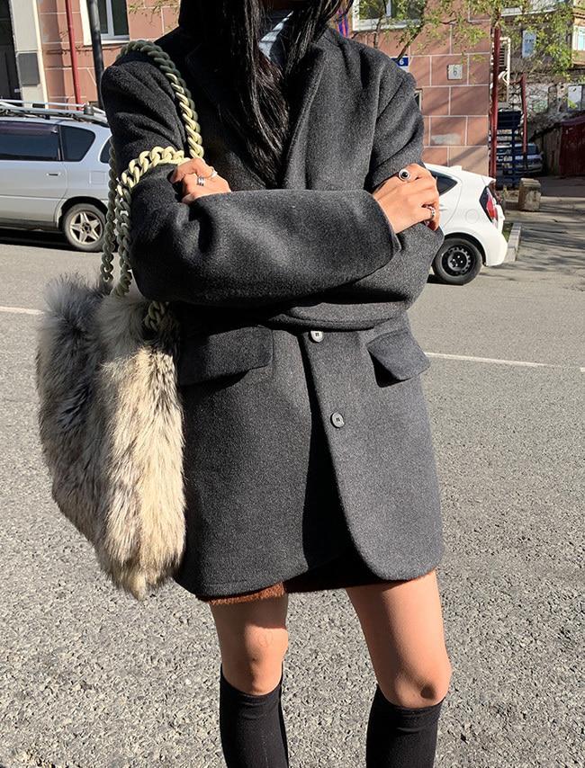 DARKVICTORY正式感混羊毛西裝外套(炭灰色)