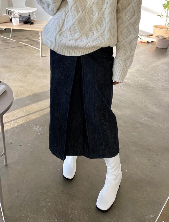 DARKVICTORY壓褶設計側釦帶後鬆緊牛仔裙