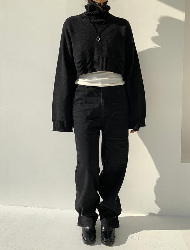 DARKVICTORY單邊翻蓋口袋直筒牛仔褲(刷毛)