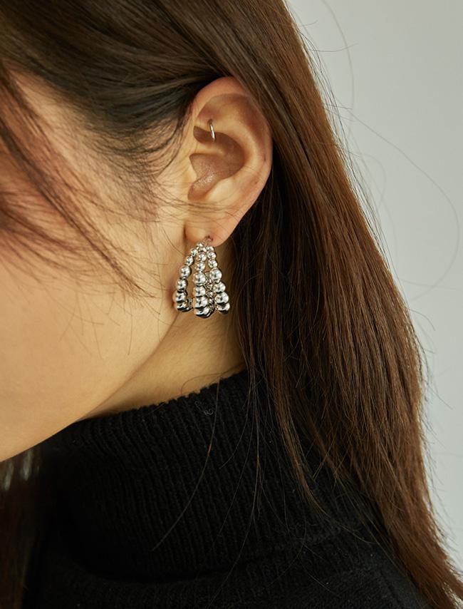 DARKVICTORY層疊圓珠C型金屬耳環