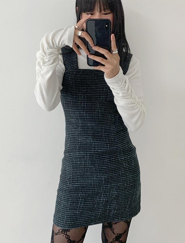 DARKVICTORY魅力抓皺感素色羅紋T恤