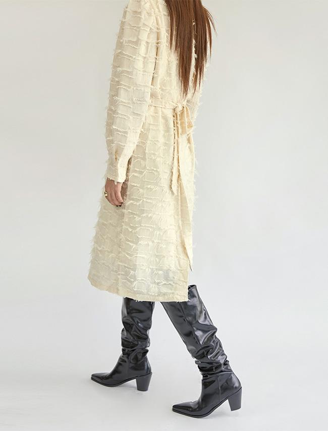 DARKVICTORY浪漫風毛鬚裝飾後綁帶洋裝