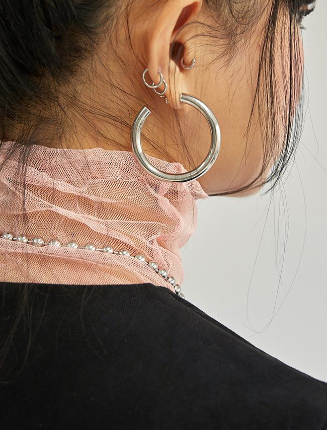 DARKVICTORY復古風潮大圓造型耳環(銀色)