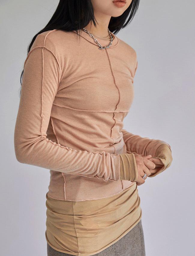 DARKVICTORY前衛反拼接線素色T恤(粉紅色)