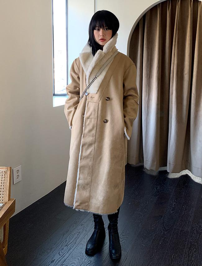 DARKVICTORY正反兩穿混羊毛長版大衣