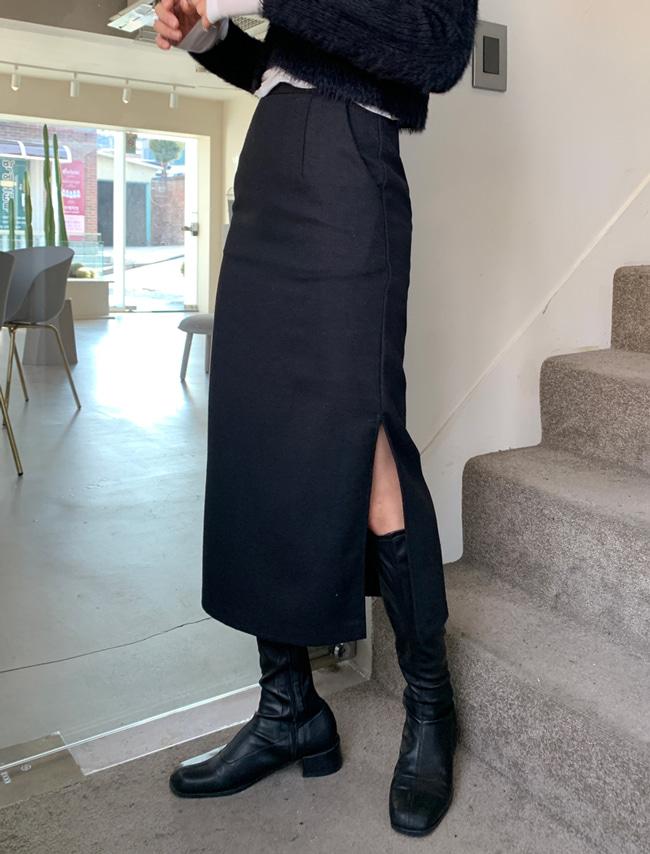 DARKVICTORY極簡單色側開衩毛呢長裙