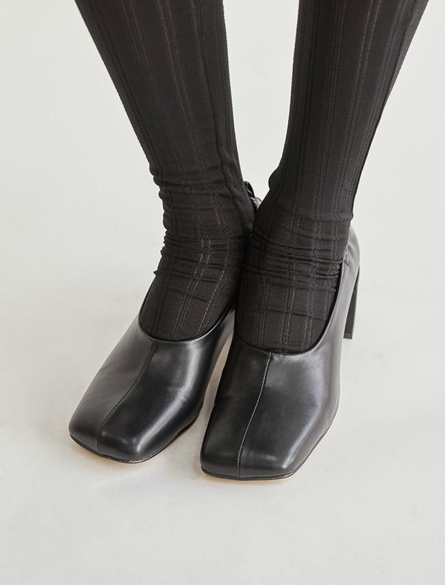 DARKVICTORY鬆緊抓皺方頭皮革粗跟鞋
