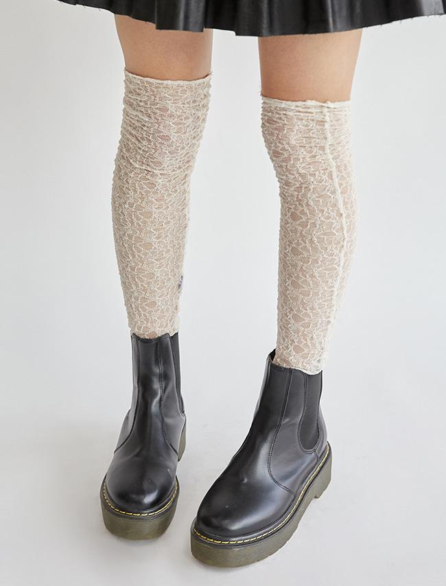 DARKVICTORY氣質女伶蕾絲過膝長襪