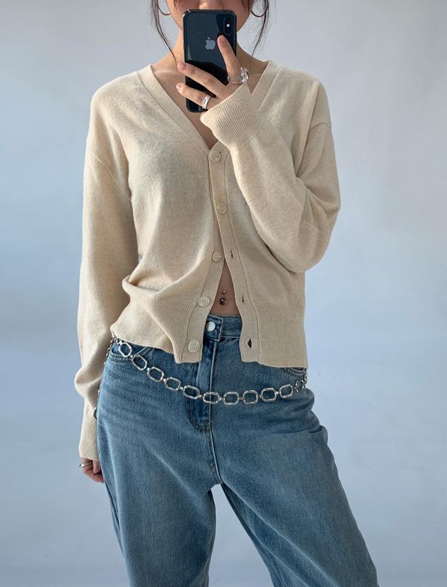 DARKVICTORYY字排釦落肩羊毛針織外套
