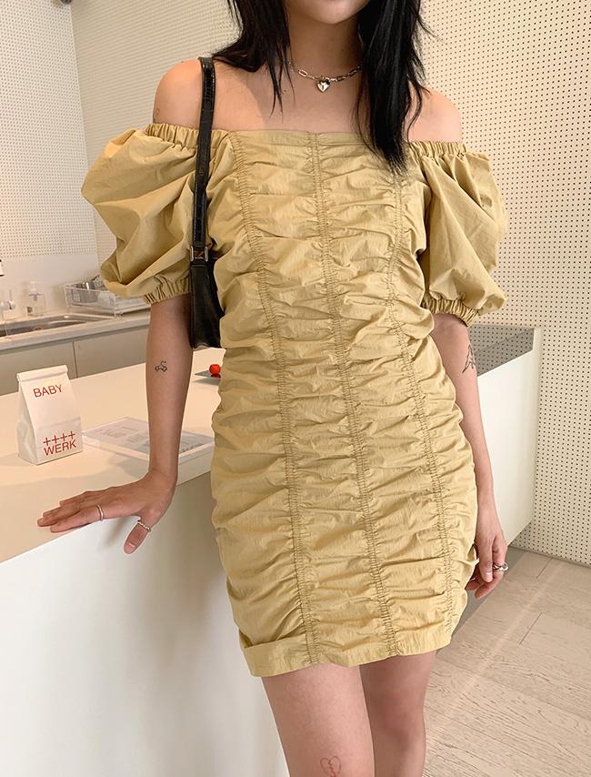 DARKVICTORY典雅抓皺感泡泡袖方領洋裝