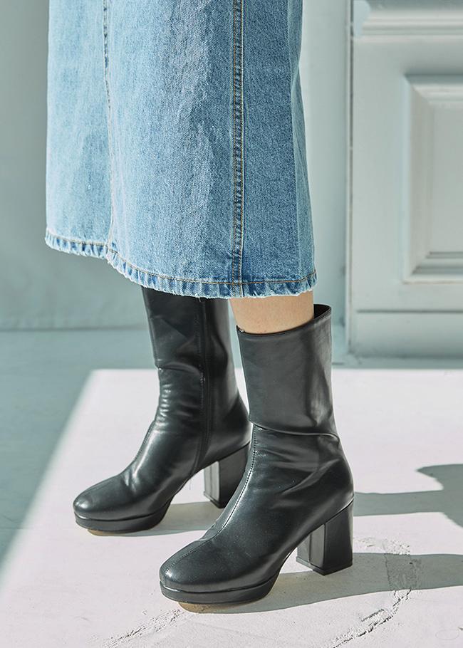 DARKVICTORY木質拼接皮革高跟中長靴
