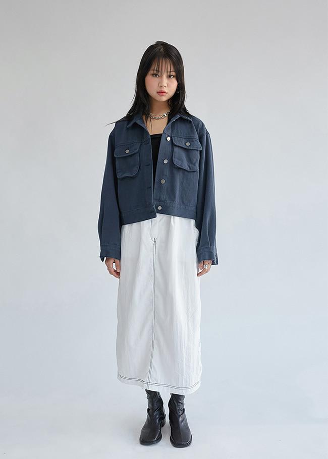 DARKVICTORY立體雙口袋微短版排釦夾克