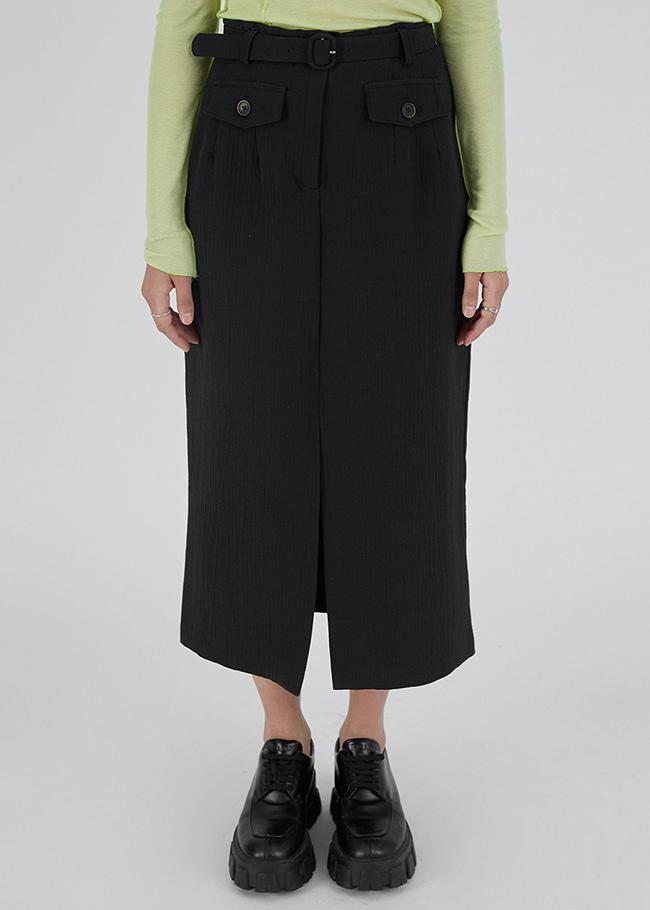 DARKVICTORY同色腰帶裝飾前開衩長裙