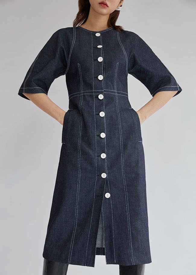 DARKVICTORY跳色車縫公主袖排釦洋裝