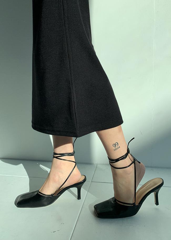 DARKVICTORY綁帶造型方頭高跟穆勒鞋