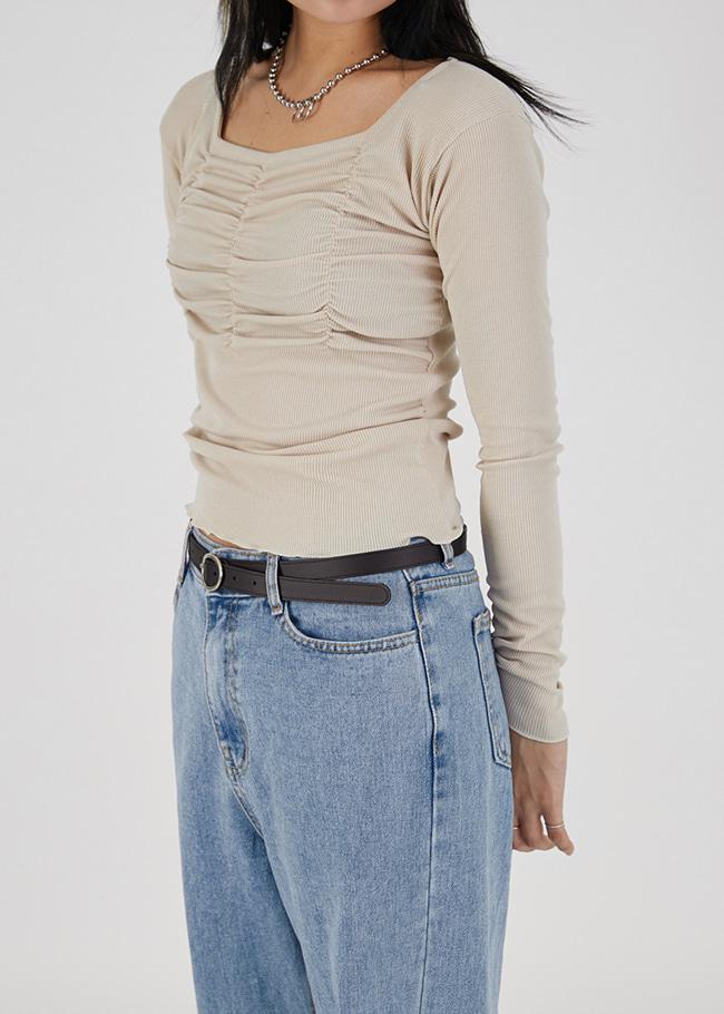 DARKVICTORY迷人抓皺感捲邊純色T恤