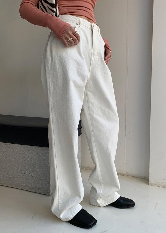 DARKVICTORY舒適純棉高腰寬管長褲