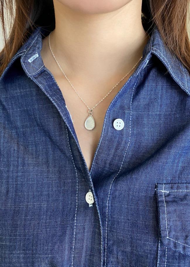 DARKVICTORY麻花滾邊水滴綴飾銀質項鍊