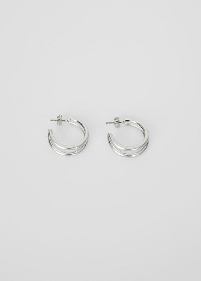 DARKVICTORY雙線造型C字耳環(銀色)