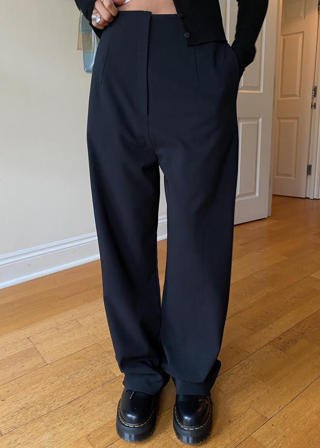 DARKVICTORY簡練單色拉鍊高腰西裝褲