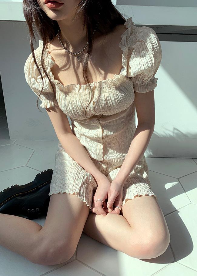 DARKVICTORY浪漫氣質泡泡袖短洋裝