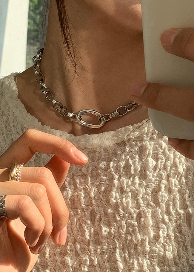 DARKVICTORY簡約時尚系橢圓圈項鍊