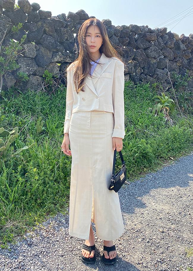 DARKVICTORY[套裝]小清新色調短版西裝外套+魚尾長裙