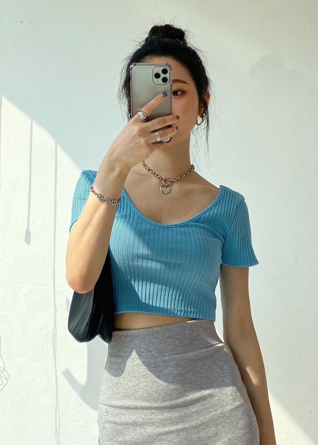 DARKVICTORYU領羅紋短版短袖T恤