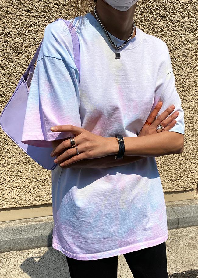DARKVICTORY淡彩渲色長版短袖T恤