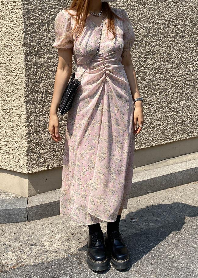 DARKVICTORY水彩感印花抓皺腰綁帶洋裝