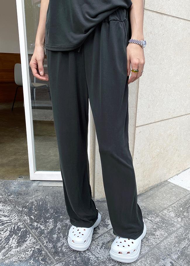 DARKVICTORY極簡時尚抽繩腰直筒長褲
