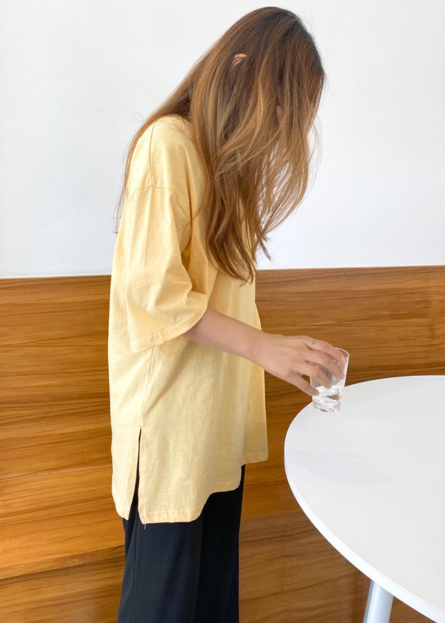 DARKVICTORY繽紛多色款側開衩純棉T恤