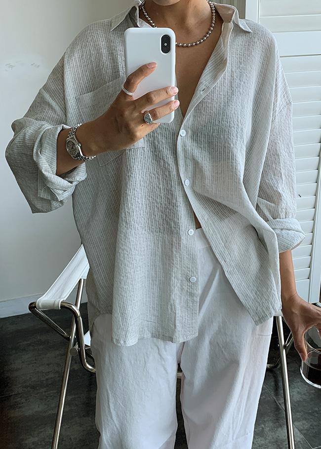 DARKVICTORY低調淡彩格紋單口袋襯衫