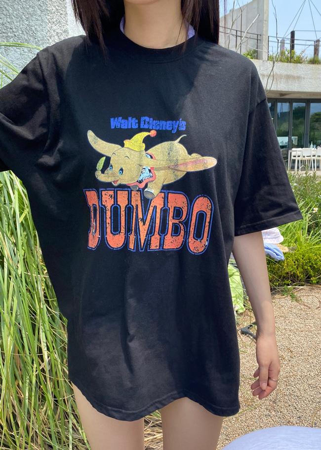 DARKVICTORY斑駁感小象圖案中長版T恤