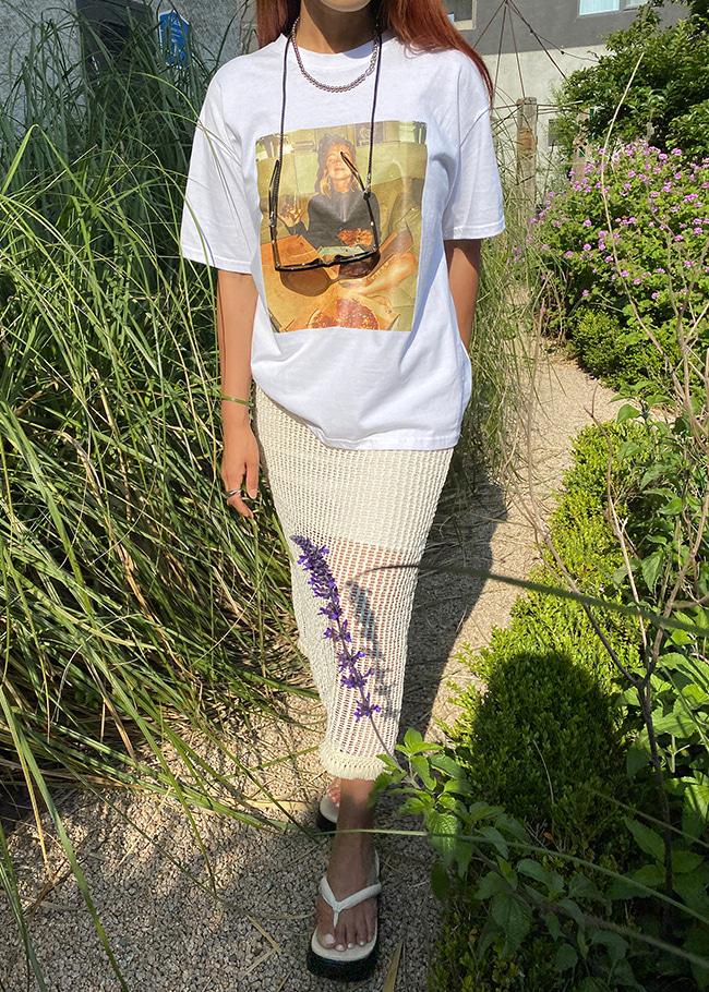 DARKVICTORY排釦裝飾後開衩網狀針織長裙