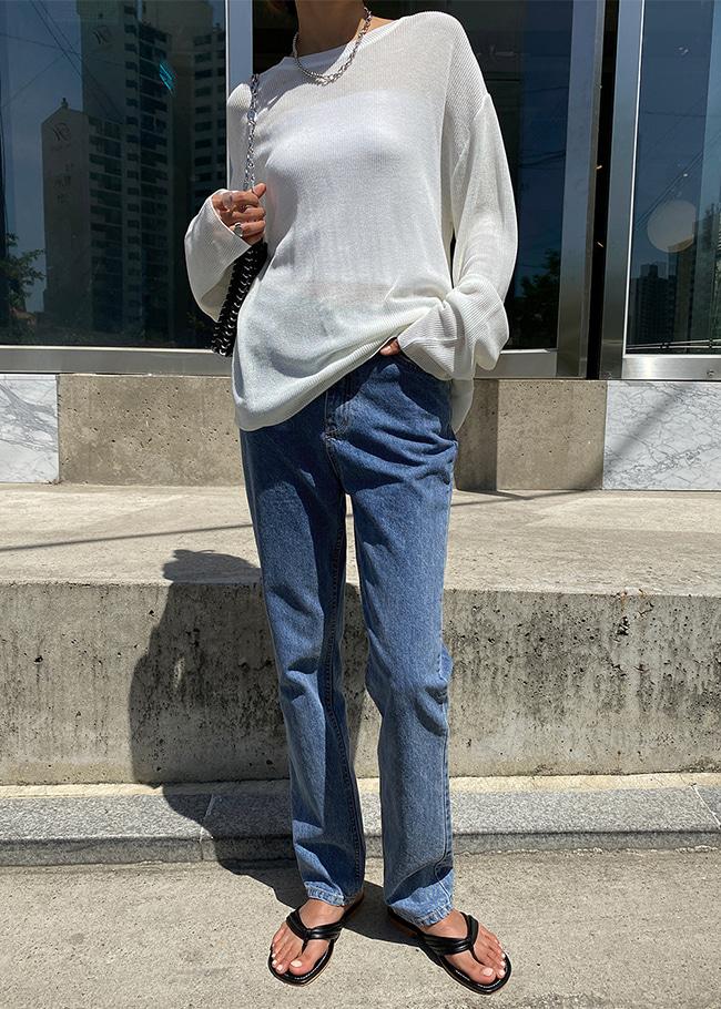 DARKVICTORY修長視覺感高腰直筒牛仔褲