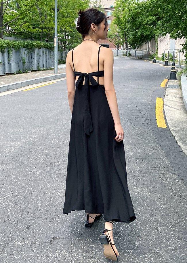 DARKVICTORY後綁造型露背細肩帶長洋裝