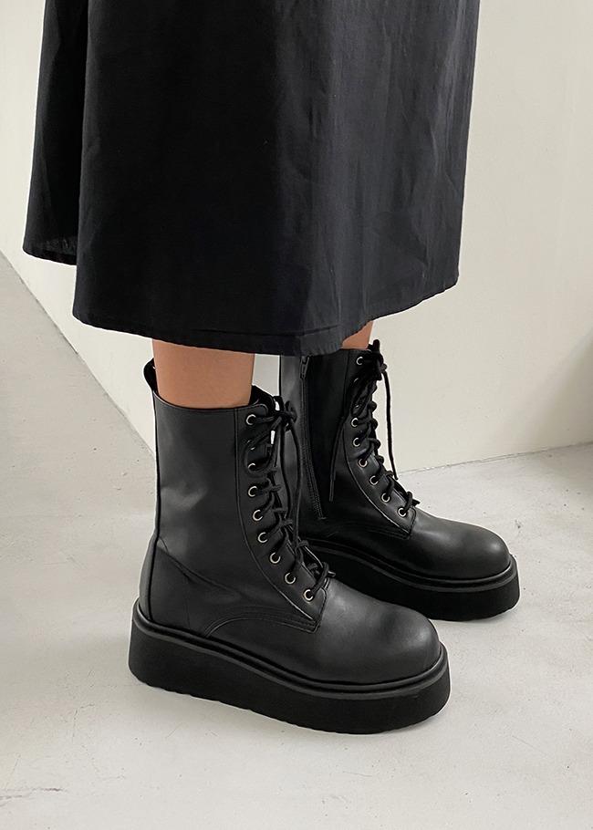 DARKVICTORY交叉綁繩造型厚底中長靴